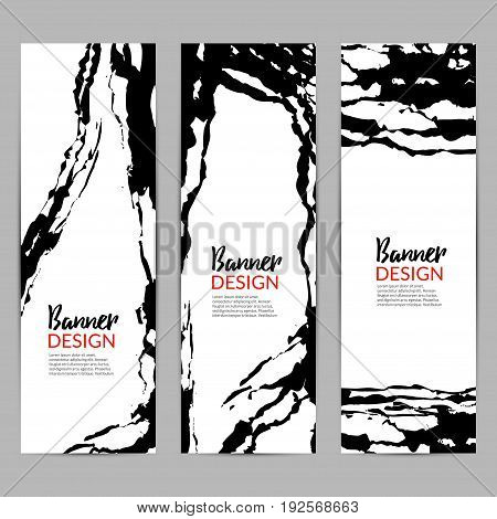 Modern chinese ink vector banner background. Rough calligraphy template. Asian art card or flyer design.