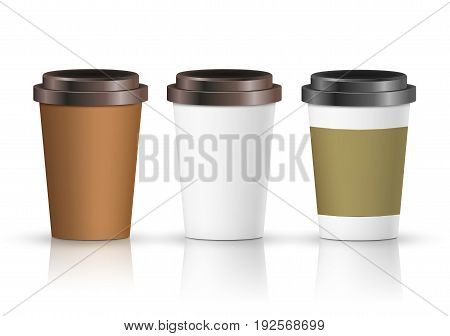 Coffee paper cup set with label. Brown plastic container for drink. Latte, mocha or cappuccino cup for cafe. Vector cover.