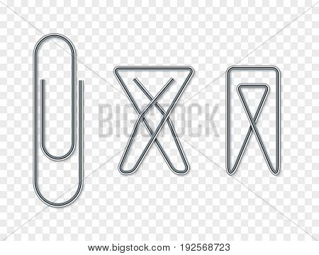 Paper clip set for note attach. Blank papperclip isolated. Business template design for document.