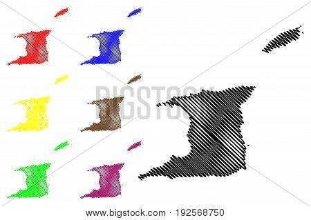 Trinidad and Tobago map vector illustration , scribble sketch Trinidad and Tobago