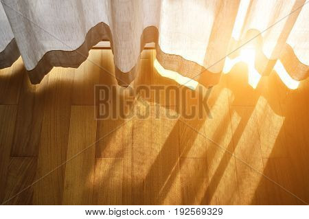 light shine through the curtain,Close up of draperies at a window.