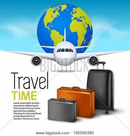 Travel background with airplane and suitcases. World travel banner flyer design. Vacation concept.