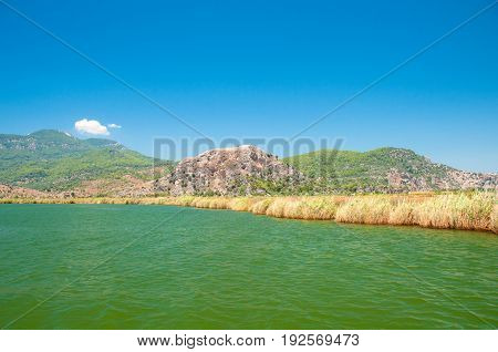 TURKEY, MUGLA , DALYAN. The Dalyan River in the straits of the river