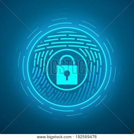 Fingerprint scanning. Vector illustration. Security system Digital lock