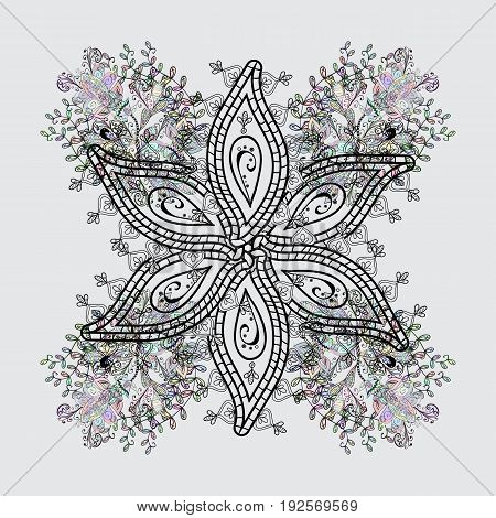Sketch on texture background. Dim gray and dim floral ornament in baroque style. Element on gray and dim background. Damask repeating background.