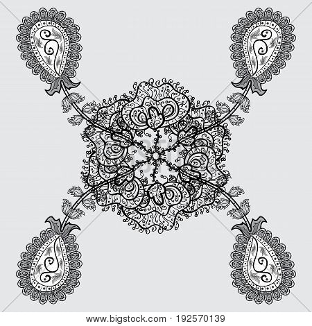 Vector dim mehndi. Ornamental floral elements with henna tattoo dim stickers mehndi and yoga design cards and prints. Pattern on gray background with dim elements.