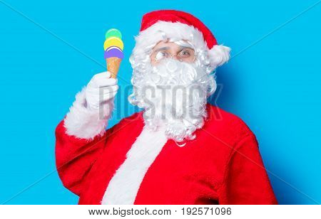Funny Santa Claus Have A Fun With Ice-cream