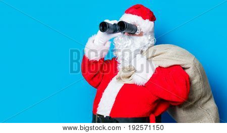 Funny Santa Claus Have A Fun With Binoculars