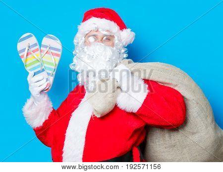 Santa Claus Have Holding Flip Flops