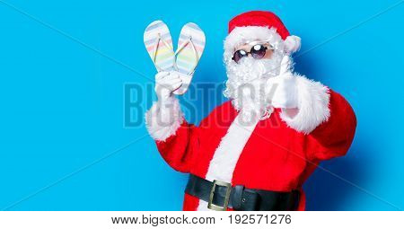 Funny Santa Claus Have A Fun With Vacation Flip Flops