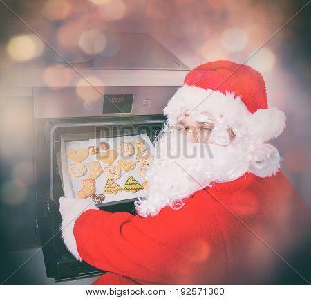 Funny Santa Claus Baking A Cookies