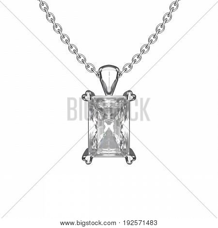 3D illustration isolated white gold or silver diamond necklace on chain with reflection on a white background