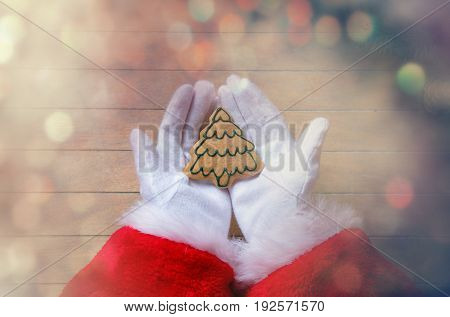 Santa Claus Holding Chrstmas Cookie