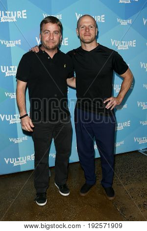 NEW YORK-MAY 21: Peter Billingsley (L) and Tim Ferris attend 'Tim Ferris and Vince Vaughn: In  Conversation' during the 2017 Vulture Festival at Milk Studios on May 21, 2017 in New York City.