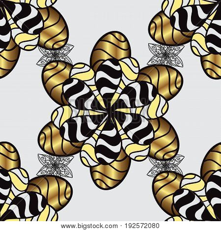 Classic vintage background. Traditional orient ornament. Golden pattern on gray background with golden elements. Seamless classic vector golden pattern.