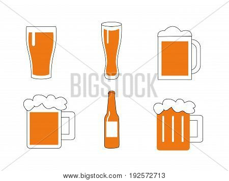 illustration of a glasses of beer on white