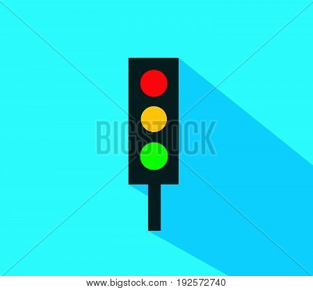 Traffic light vector illustration flat design with blue background