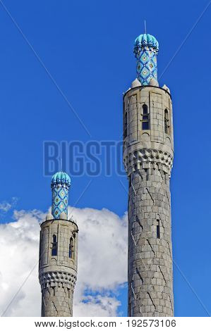Mosaic minarets of the cathedral mosque in Saint-Petersburg, Russia