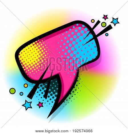 Abstract creative hand drawn vector colorful bubble. Comic speech balloon halftone dot background pop art style. Funny comic book cartoon text dialog. Colored empty cloud. Sale banner.