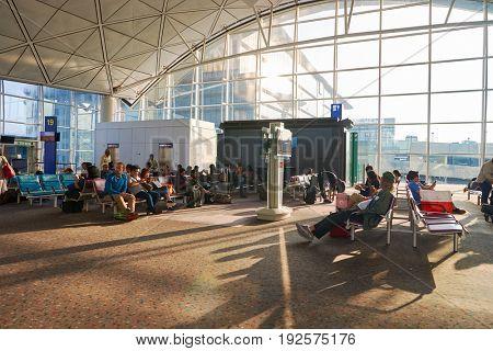 HONG KONG - CIRCA SEPTEMBER, 2016: people at Hong Kong International Airport in the morning.