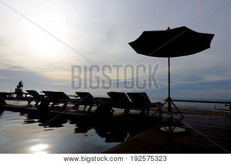 Silhouette of Beach chair at Hat Chao Samran,Phetchaburi province,thailand