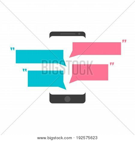 Phone chat message. Speech Bubble icons with smartphone. Communication concept. Vector illustration