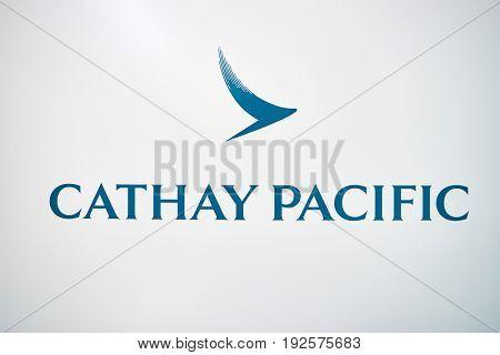 HONG KONG - CIRCA SEPTEMBER, 2016: close up shot of Cathay Pacific sign at Hong Kong International Airport. Cathay Pacific is the flag carrier of Hong Kong.