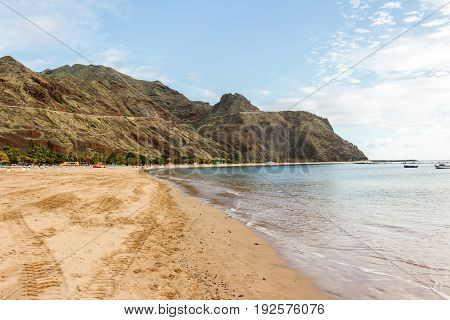 a suggestive view of playa de las teresitas in tenerife