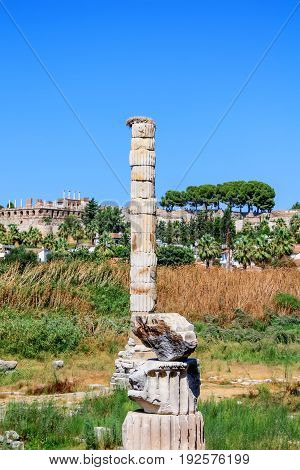 Temple of Artemis ruins of only remaining column one of the seven wonder of ancient world in Selcuk in Turkey