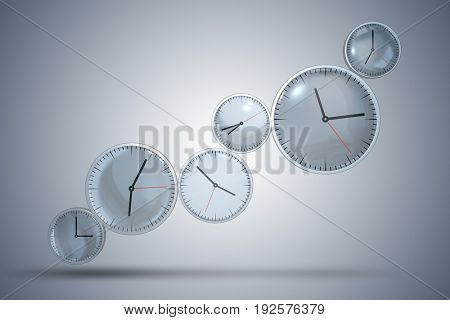 Clocks arranged in sequence - 3d rendering