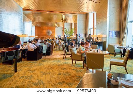 HONG KONG - CIRCA SEPTEMBER, 2016: inside The Lounge, Four Seasons Hotel Hong Kong. Four Seasons Hotel Hong Kong is a five-star hotel building in the Sun Hung Kai Properties.