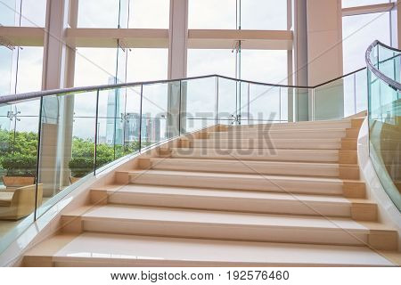 HONG KONG - CIRCA SEPTEMBER, 2016: stairs at Four Seasons Hotel Hong Kong. Four Seasons Hotel Hong Kong is a five-star hotel building in the Sun Hung Kai Properties.