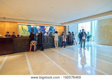 HONG KONG - CIRCA SEPTEMBER, 2016: reception at Four Seasons Hotel Hong Kong. Four Seasons Hotel Hong Kong is a five-star hotel building in the Sun Hung Kai Properties.