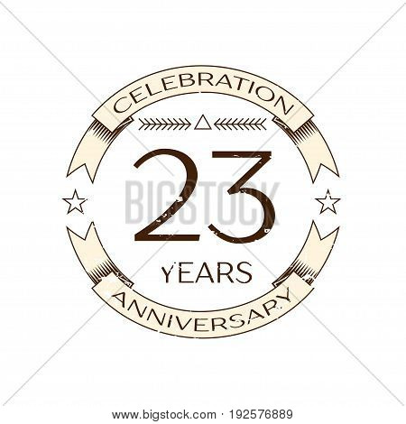 Realistic twenty three years anniversary celebration logo with ring and ribbon on white background. Vector template for your design