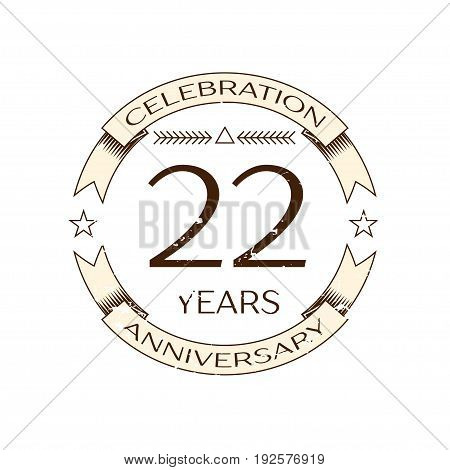 Realistic twenty two years anniversary celebration logo with ring and ribbon on white background. Vector template for your design