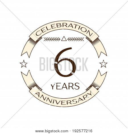 Realistic six years anniversary celebration logo with ring and ribbon on white background. Vector template for your design