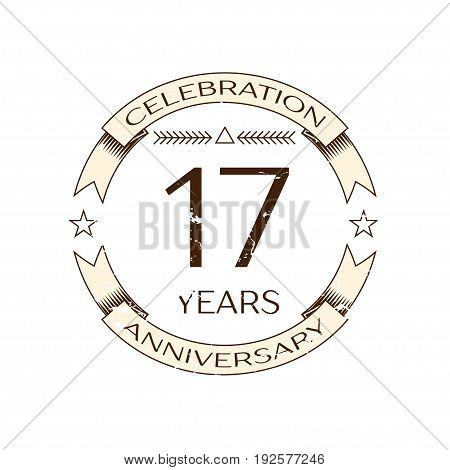 Realistic seventeen years anniversary celebration logo with ring and ribbon on white background. Vector template for your design