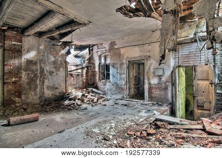 Interior of the old abandoned and crumbling building Czech republic