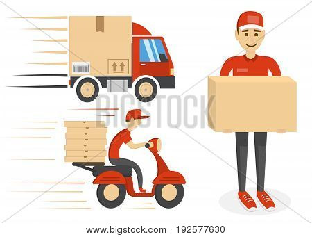 Delivery template isolated on white background. Boxes, character man, fast driving scooter motorcycle and truck. Vector illustration