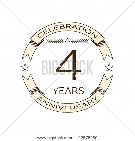 Realistic four years anniversary celebration logo with ring and ribbon on white background. Vector template for your design