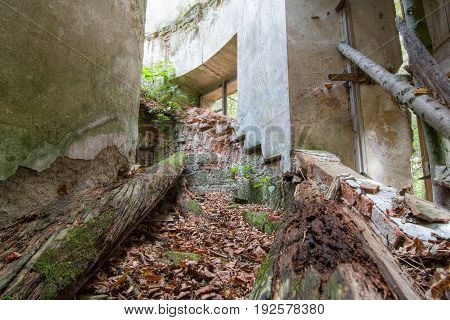 Old abandoned and broken ruins of the building