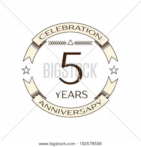 Realistic five years anniversary celebration logo with ring and ribbon on white background. Vector template for your design