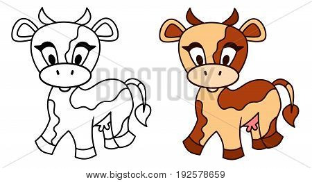 Spotted Cow vector cartoon funny animal spotted farm colored illustration sketch