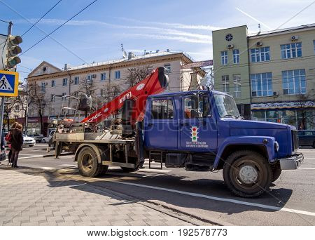 Voronezh, Russia - April 27, 2017: The technical car of the center of traffic organization stands on the city street