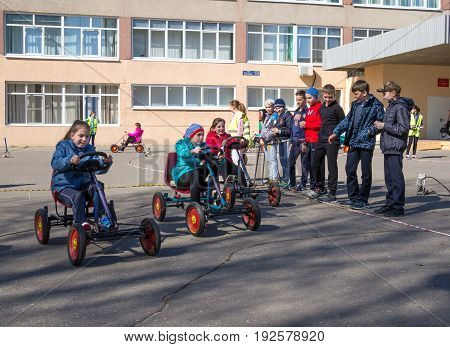 Voronezh, Russia - April 26, 2017: A lesson on the rules of the road in secondary school