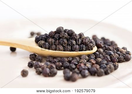 black peppercorns on wooden spoon. closeup dried seeds.