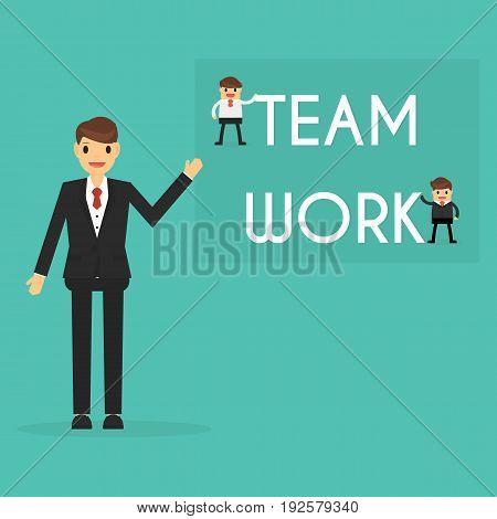 Businessman with teamwork concept . business concept