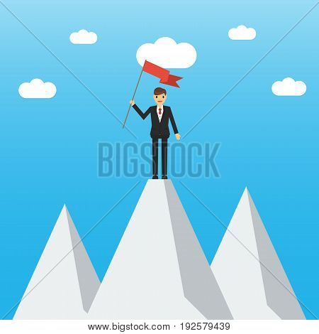 Businessman On A Mountain Peak. Employee Climbed To The Top Of The Mountain And Enjoys Victory. Succ