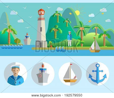 Flat design nature landscape illustration with port, lighthouse, sailing boat, seagulls, sailor, island, palm trees, steamer and sea. Vector illustration.