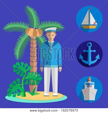 Set of nautical motif icons. Island, sailor, anchor, sailing boat and steamer. Vector illustration.